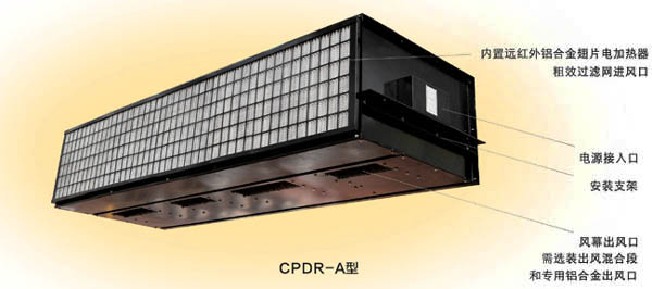 CPDR-A Concealed Top Blowing Electric Heated Air Curtain